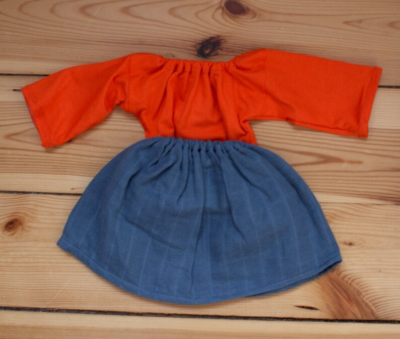 Outfit 40 cm Rock Graublau Orangerot image 0