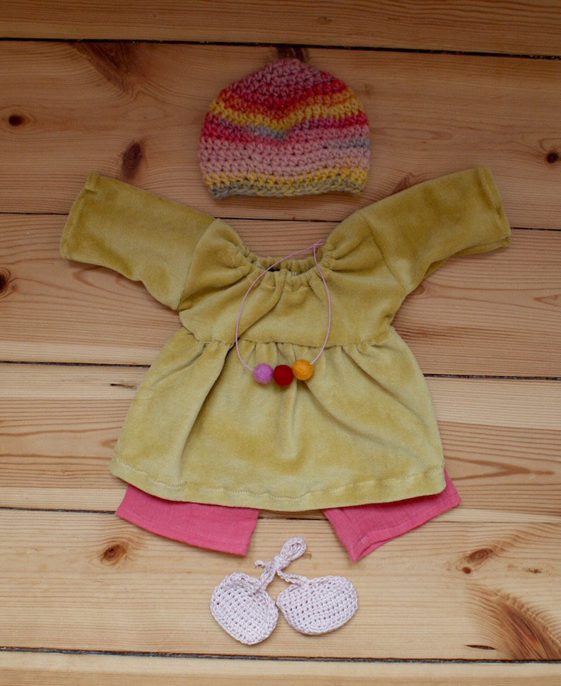 Outfit 40 cm Nicky-Kleid Senfgelb image 0