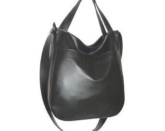 b89f1e6411 Large minimalist vegan crossbody hobo bag