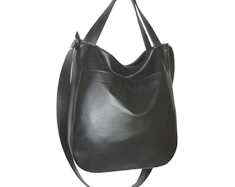 black leather crossbody bag, vegan leather black, black crossbody bag, black faux leather tote, black hobo bag, crossbody bag black leather