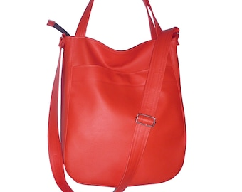 red crossbody bag, red hobo bag, red leather bag, red faux leather bag, red vegan bag, red tote bag, red crossbody tote, red crossbody purse