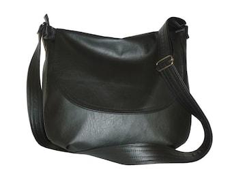 leather crossbody bag black, leather hobo bag black, leather messenger bag black, black hobo bag, black leather crossbody bag, black hobo