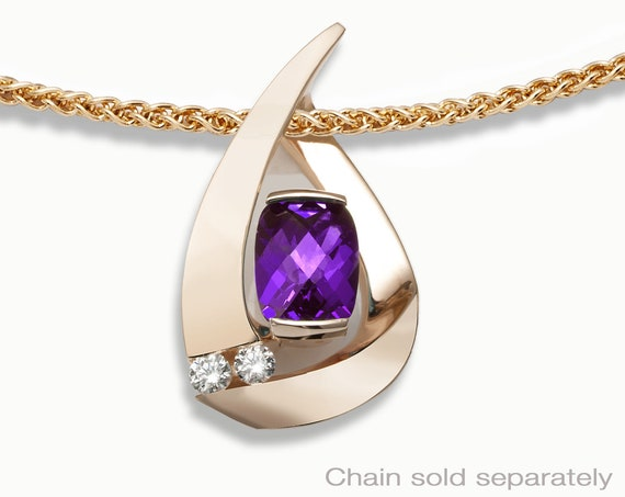14k gold, amethyst pendant, February birthstone necklace, white sapphire pendant, 14k yellow gold, contemporary amethyst pendant - 3378