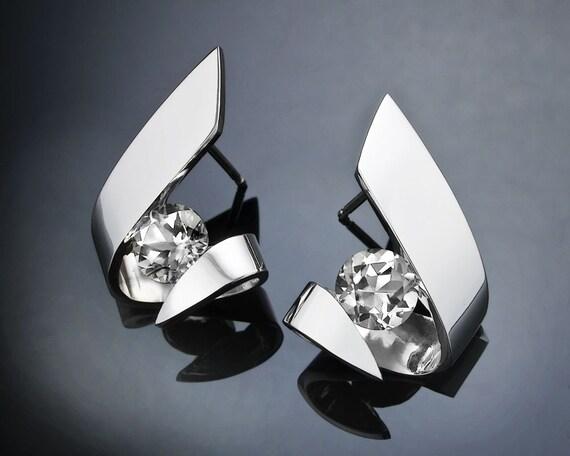 CZ earrings, Argentium silver earrings, wedding earrings, statement earrings, holiday earrings, designer jewelry, modern earrings - 2440