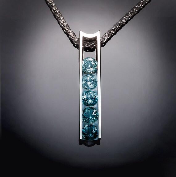 blue topaz necklace, ombre necklace, Argentium silver pendant, December birthstone, statement necklace, artisan necklace, modern design 3503