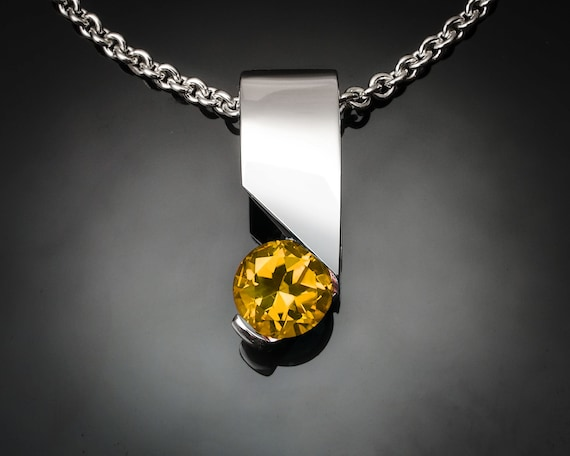 citrine necklace, November birthstone, Argentium silver pendant, modern necklace - 3460