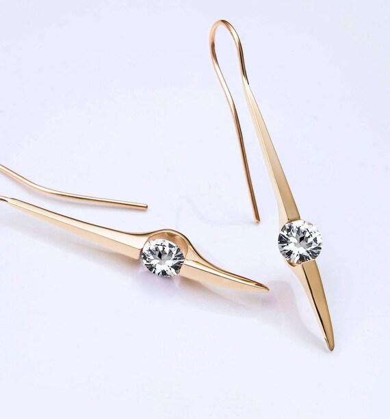 14k gold earrings, white sapphire earrings, dangle earrings, statement earrings - 2444