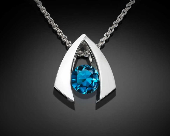 London blue topaz necklace, December birthstone, silver necklace, wedding necklace, Argentium silver, gemstone pendant, for her  - 3424