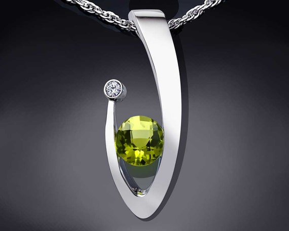 peridot pendant necklace, statement necklace, Argentium Silver, white sapphire necklace, green gemstone, artisan necklace, for her - 3418