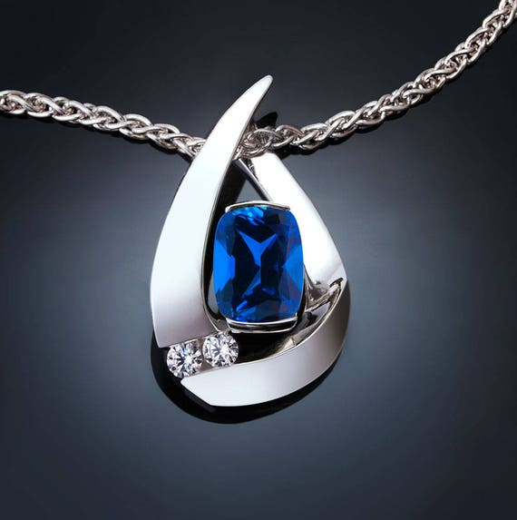 elegant blue sapphire necklace set with white sapphires in Argentium silver, Chatham blue sapphire,  September birthstone - 3378