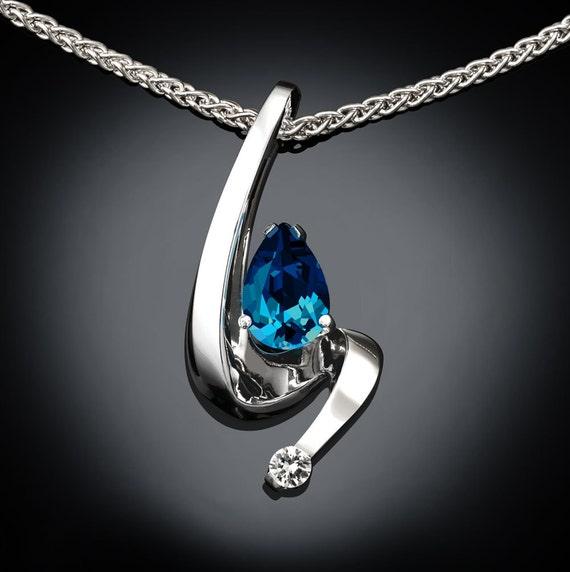 blue topaz necklace, December birthstone, London blue topaz, wedding necklace, fine jewelry,  Argentium silver, white sapphire - 3380