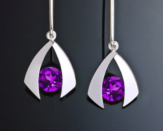 amethyst earrings, silver earrings, natural amethyst, February birthstone earrings, eco-friendly, dangle earrings, for her - 2424