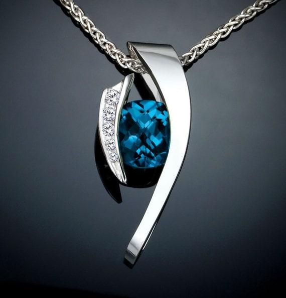 London blue topaz necklace, statement necklace, blue topaz pendant, white sapphires, December birthstone, Argentium silver, artisan - 3374