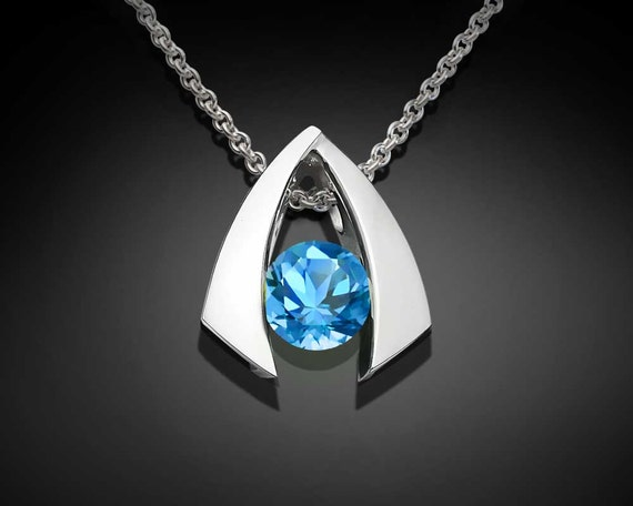 Swiss blue topaz necklace, December birthstone, wedding necklace, Argentium silver necklace, eco-friendly necklace, modern jewelry - 3424