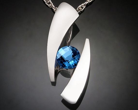 blue topaz pendant, Swiss blue topaz, statement jewelry, Argentium silver necklace, December birthstone, blue gemstone, for her - 3489