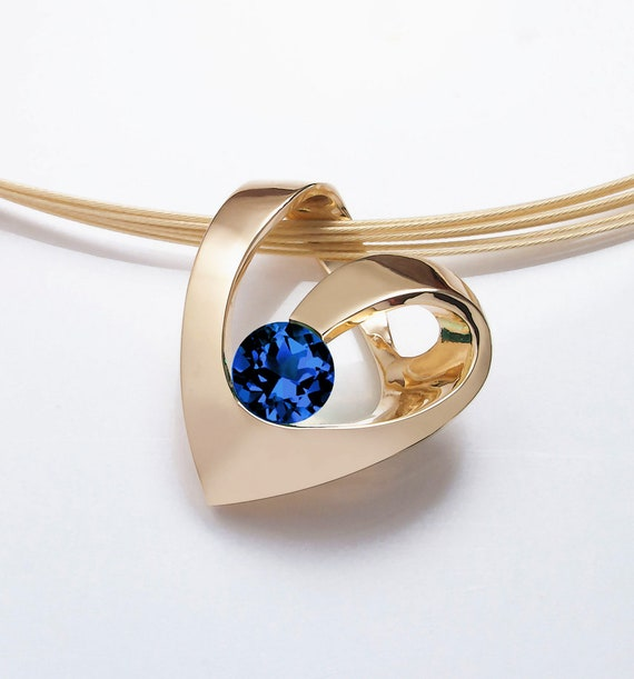 14k yellow gold heart blue sapphire pendant, September birthstone, - 3401