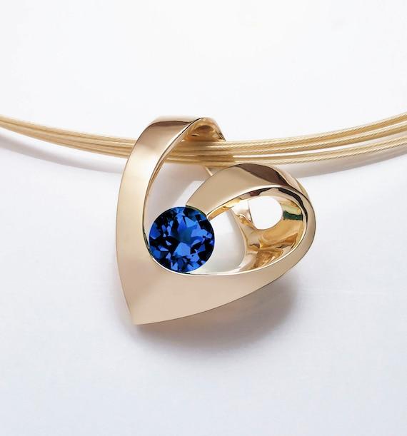 gold heart pendant, 14k yellow gold pendant, Chatham blue sapphire, September birthstone, fine jewelry, anniversary goft - 3401