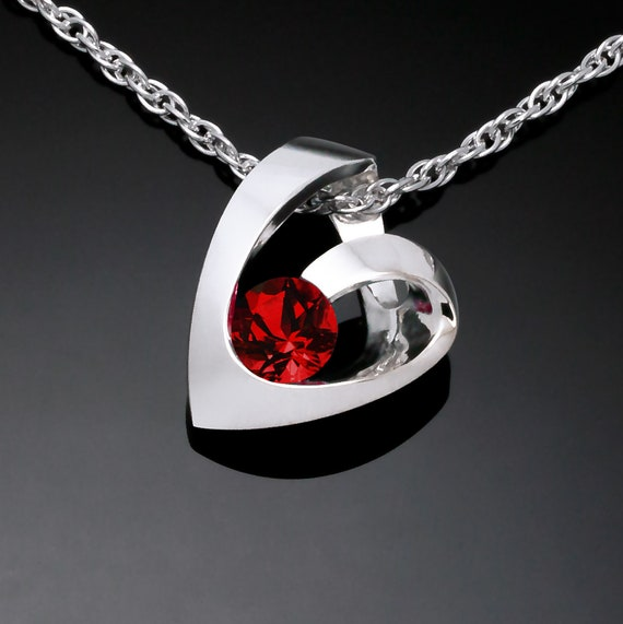 garnet heart necklace, January birthstone, Argentium silver heart, Mozambique garnet, Valentine pendant, modern heart design - 3501
