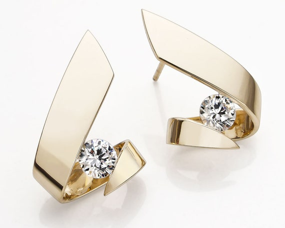 14k gold and CZ earrings - 2440