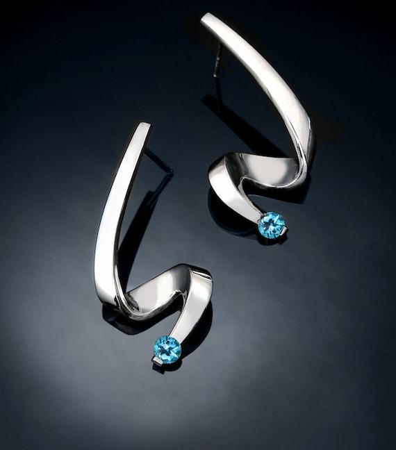 Swiss blue topaz earrings, December birthstone, Argentium silver earrings, post earrings, dangle earrings, wedding earrings - 2380