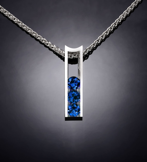 blue sapphire necklace pendant, September birthstone, Argentium silver, anniversary gift, modern jewelry, for her - 3503