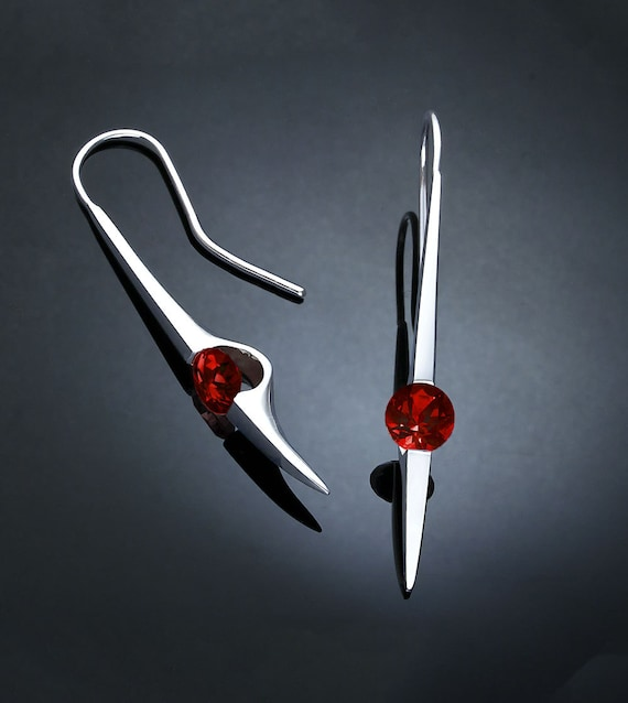 garnet earrings, statement earrings, Mozambique garnet jewelry, Argentium silver, January birthstone, earrings - 2444