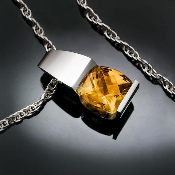 citrine necklace, November birthstone, citrine pendant, Argentium silver, eco-friendly, yellow gemstone, gemstone jewelry, for her - 3431
