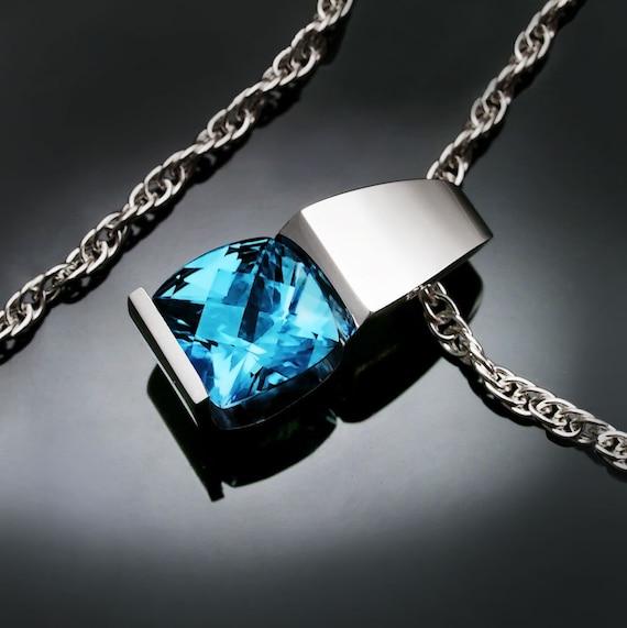 blue topaz necklace, Argentium silver, December birthstone, modern jewelry,  tension set pendant, artisan necklace - 3431