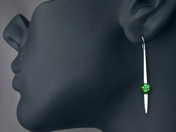 green topaz earrings, dangle earrings, statement earrings, modern earrings, Argentium Silver, bold Jewelry, statement jewelry - 2444