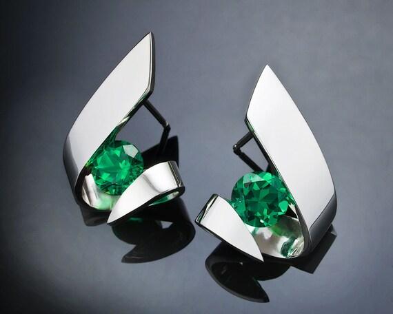 green topaz earrings, Argentium silver, modern jewelry design, green earrings, tension set, eco-friendly, for her - 2440
