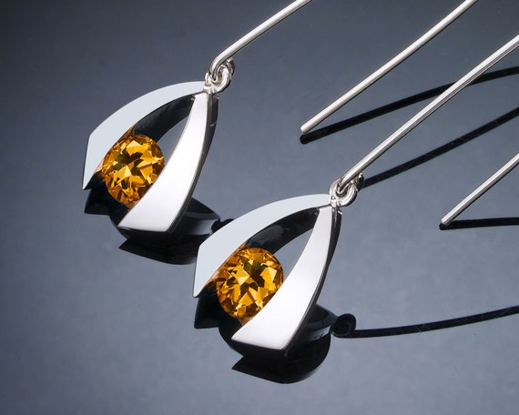 citrine earrings, citrine dangle earrings, silver earrings, November birthstone, yellow gemstones, Argentium silver, dangle earrings - 2424