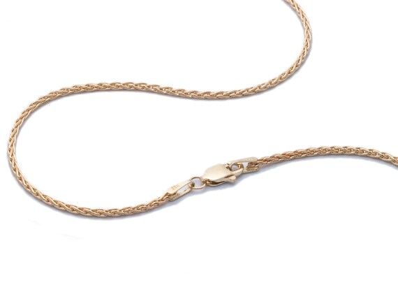 14k yellow gold wheat chain, 1.5mm