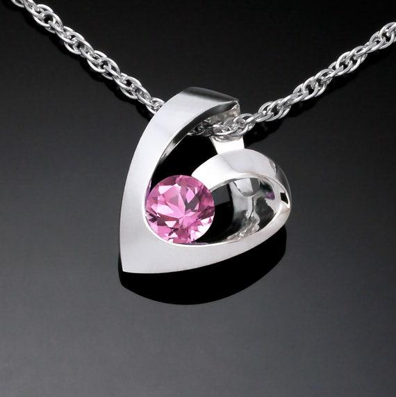 pink tourmaline heart pendant, Argentium silver pendant, October birthstone, Valentine's gift, wedding necklace - 3501