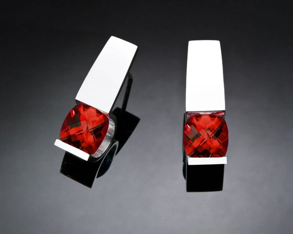 garnet earrings, Mozambique garnet, January birthstone, red earrings, Argentium silver, Christmas earrings, modern jewelry, for her -  2431