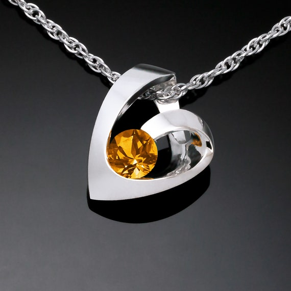 citrine heart necklace, November birthstone, Argentium silver heart, Valentine pendant, modern heart design - 3501