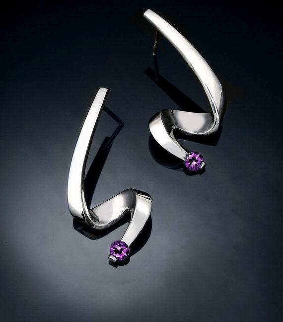 amethyst earrings - Argentium silver - February birthstone - dangle - purple - gemstone jewelry - posts - 2380