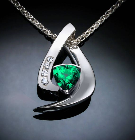 emerald necklace, Chatham emerald pendant, white sapphires, May birthstone, Argentium silver, artisan jewelry, green gemstone, for her  3369