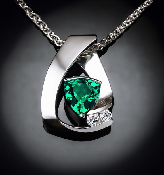 emerald necklace, emerald pendant, white sapphires, May birthstone, May birthday, fine jewelry, Argentium silver, luxury gift -3452