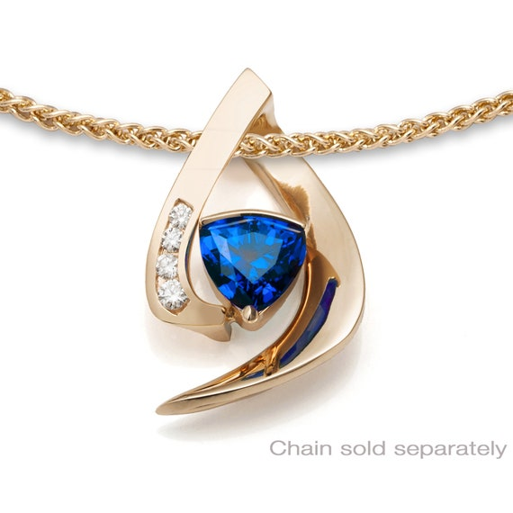 14k gold, blue sapphire and diamond pendant, CHAIN SOLD SEPARATELY, Chatham blue sapphire, September birthstone - 3369