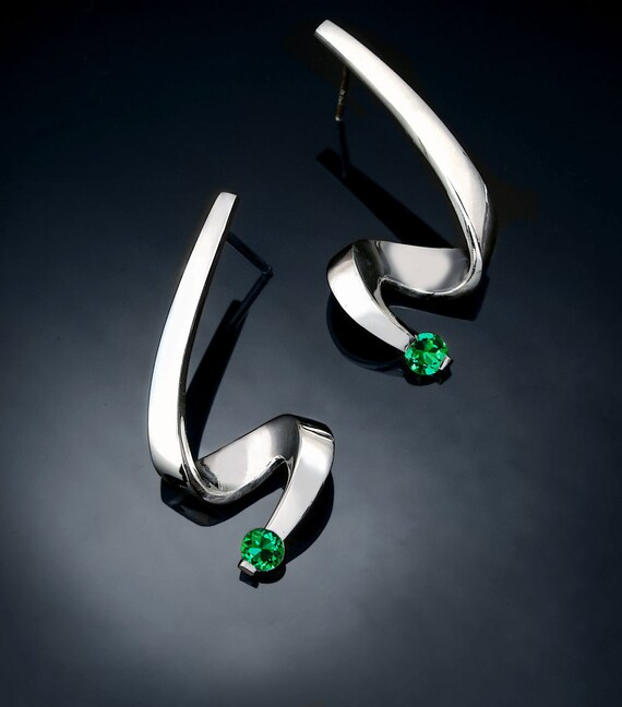 emerald earrings, silver earrings, May birthstone, dangle earrings, Chatham emeralds, holiday earrings, artisan earrings, for her - 2380