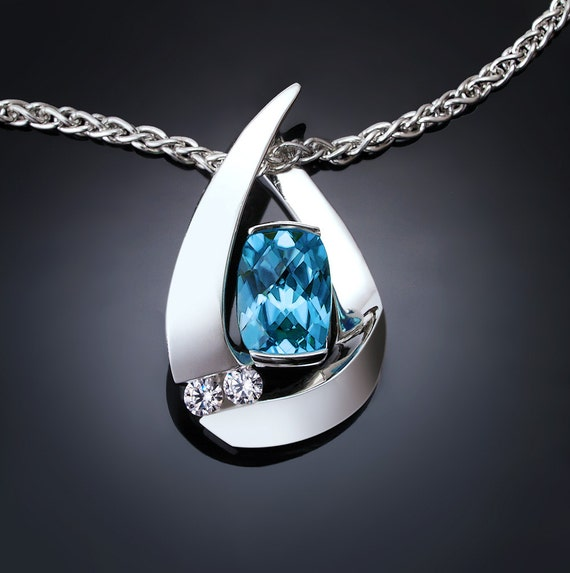 Swiss blue topaz necklace with white sapphires, december birthstone, argentium silver, wedding, contemporary jewelry - 3378