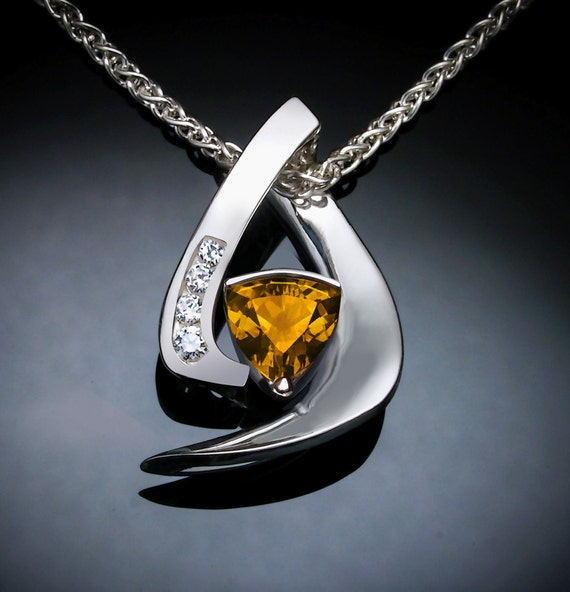 natural citrine necklace with white sapphires in Argentium silver, November birthstone - 3369