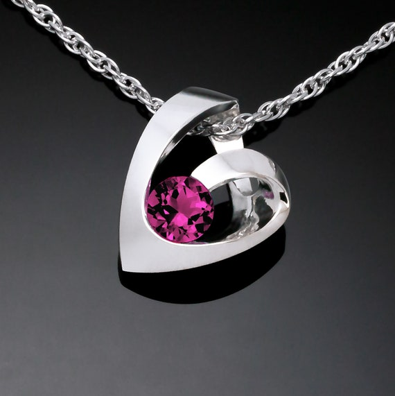 Rhodolite garnet heart necklace, January birthstone, Valentine necklace, garnet pendant - 3501