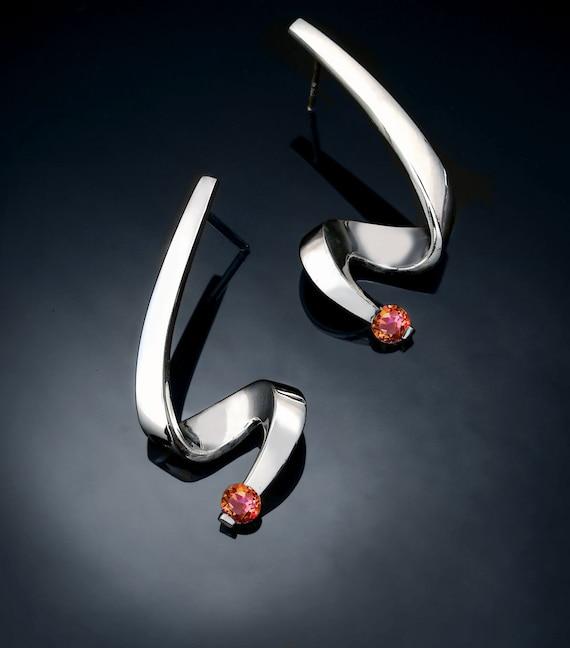 silver earrings, mystic topaz earrings, Argentium silver, eco-friendly, contemporary jewelry, dangle earrings, artisan jewelry - 2380