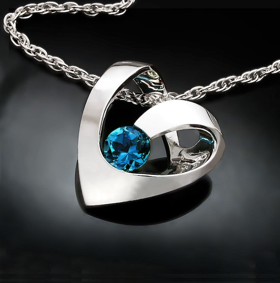 heart necklace, blue topaz pendant, valentine necklace, London blue topaz, December birthstone, contemporary jewelry - 3401