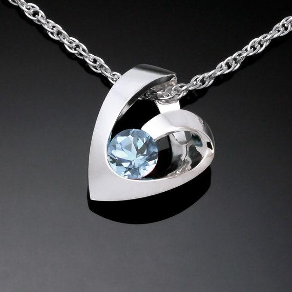 aquamarine heart pendant, Argentium silver pendant, March birthstone, Valentine's gift, aquamarine necklace - 3501