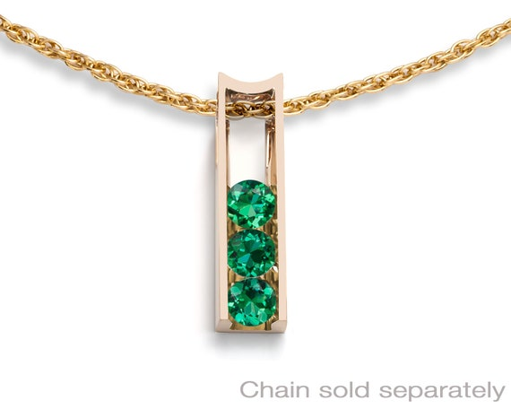 Emerald and gold pendant, 14k yellow gold, May birthstone, Christmas gift, 3503