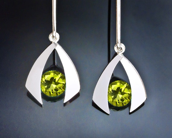 peridot earrings, peridot dangle earrings, drop earrings, August birthstone, argentium silver jewelry, eco-friendly, modern earrings - 2424