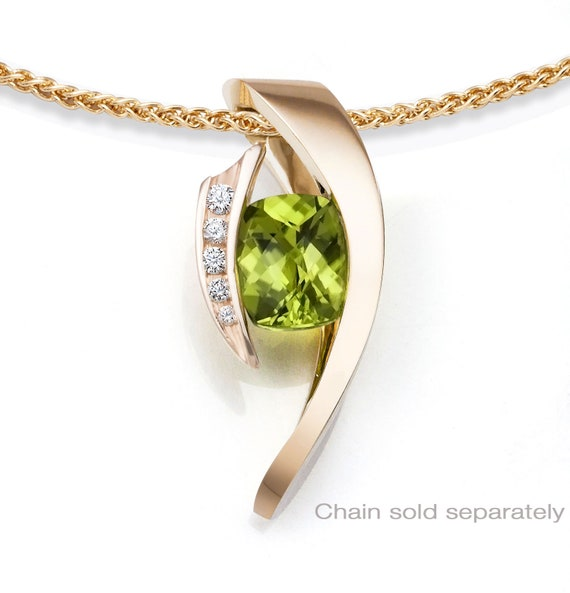 14K gold and peridot pendant, CHAIN SOLD SEPARATELY, August birthstone - diamond jewelry - statement necklace - modern jewelry - 3374