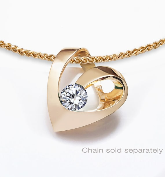 14k yellow gold & white sapphire heart pendant, CHAIN SOLD SEPARATELY, fine jewelry, statement necklace, modern jewelry - 3401